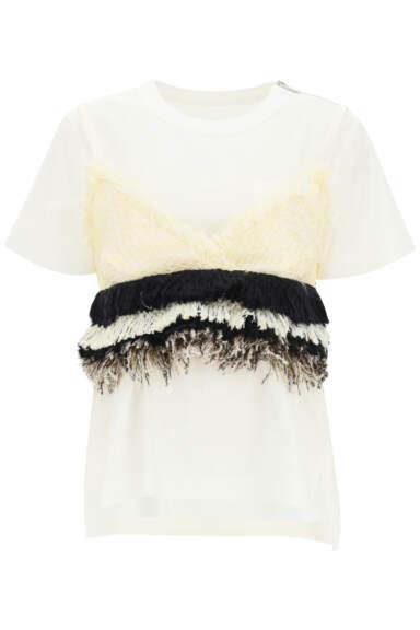 SACAI T-SHIRT WITH TWEED TOP 1 White, Black, Beige Cotton