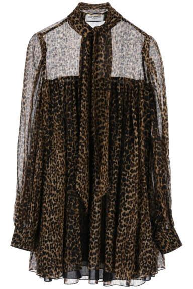 SAINT LAURENT LEOPARD PRINT MINI DRESS 38 Beige, Brown, Black Wool