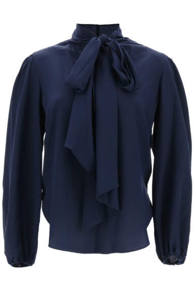 SEE BY CHLOE BLOUSE WITH LAVALLIERE 40 Blue Silk