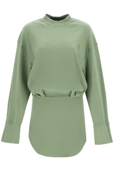 THE ATTICO PALMER MINI DRESS XS Green Cotton