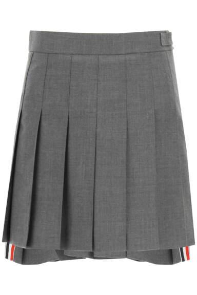 THOM BROWNE PLEATED WOOL MINI SKIRT 36 Grey Wool